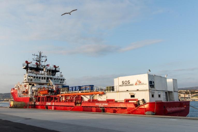 L'Ocean Viking, à quai dans le port de Marseille.      © Fabian Mondl/SOS MEDITERRANEE
