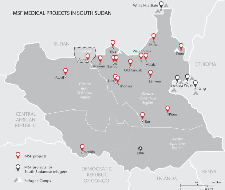 Projets MSF au Soudan du Sud en juillet 2016