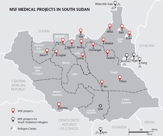 Projets médicaux de MSF au Soudan du Sud en 2015