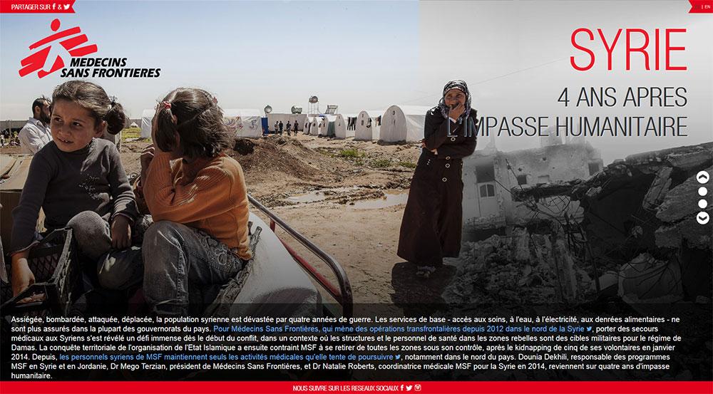 Site MSF Syrie 4 ans de guerre