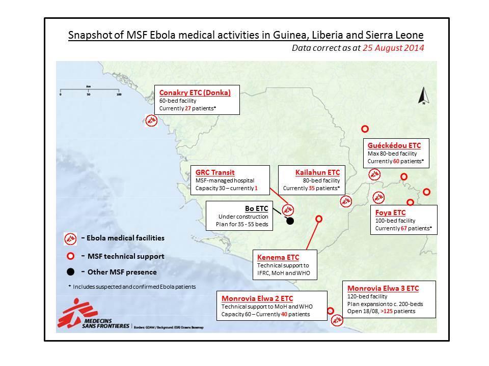 Carte des activités de MSF contre l'Ebola au 25 août 2014