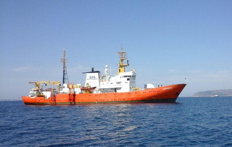 L'Aquarius, affrété par l'association SOS Méditerranée