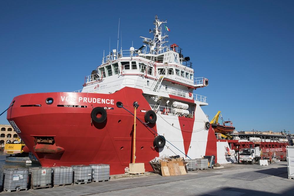 Le navire Prudence dans le port de La Vallette, à Malte, en mars 2017 © Albert Masias/MSF MSF186569_Medium