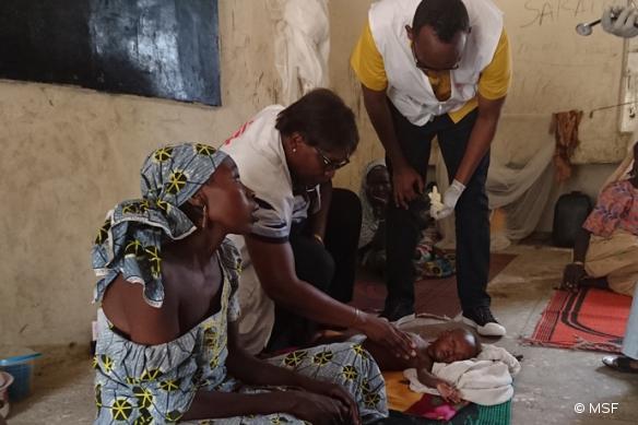 MSF prend en charge des déplacés dans un camp situé à Maiduguri, capitale de l'Etat de Borno, dans le nord-est du Nigeria, le 18 juillet 2016.
