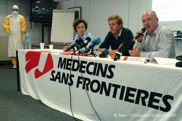 De gauche à droite : Dr Annette Heinzelmann (directrice médicale à Paris), Brice de Le Vingne (directeur des opérations à Bruxelles) et Bertrand Draguez (directeur médical à Bruxelles).
