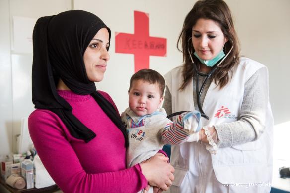 Une famille syrienne hébergée au camp Eleonas, à Athènes. Février 2016