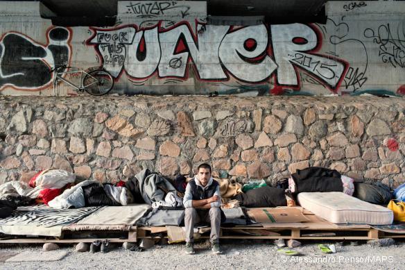 À Brennero, près de la frontière entre l'Italie et l'Autriche, le point de passage est fermé pour les migrants qui sont repoussés vers la ville de Bolzano, où ils sont désormais près de 200 à errer dans les rues sans aucune assistance. Septembre 2017