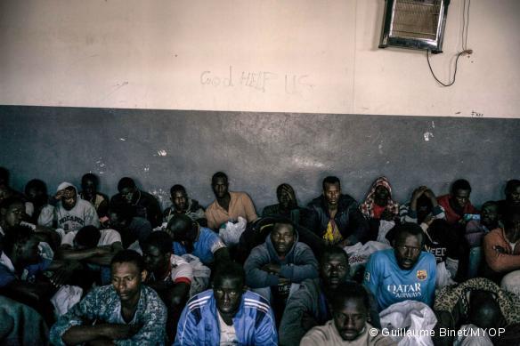 Photo prise dans un centre de détention près de Misrata, en Libye, en mars 2017.