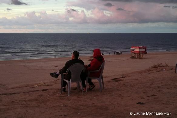 Le coucher du soleil à Gaza