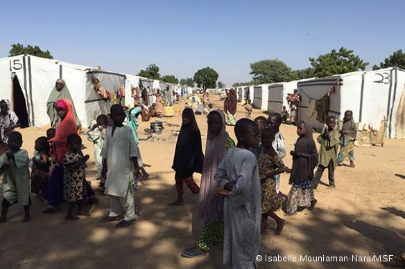 Dans l'un des camps de déplacés de Maiduguri, en janvier 2016.