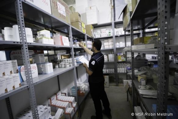 Pharmacie d'un hôpital MSF dans le nord de la Syrie