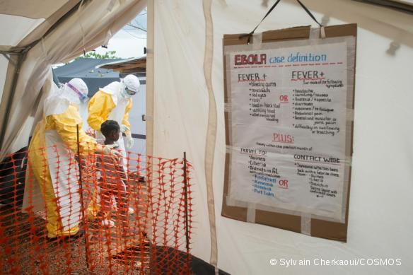 Centre de prise en charge d'Ebola à Kailahun, en Sierra Leone. Juillet 2014